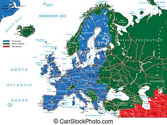 歐洲, 地圖, 路