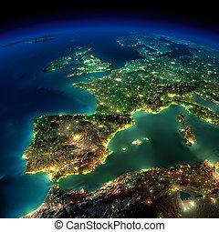 歐洲, 部分, 葡萄牙, -, 法國, 夜晚, 西班牙, earth.