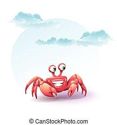 歡樂, 螃蟹, 天空, 插圖, 背景