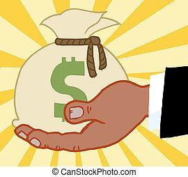 止住錢, 事務, 袋子, 手