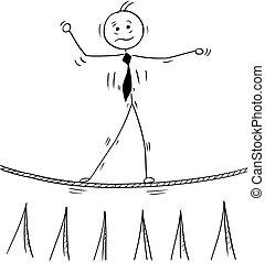 步行, 事務, 繩子, 拉緊的繩索, 卡通, 人