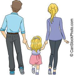 步行, 家庭, 一起