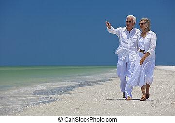 步行, 指, 夫婦, 熱帶, 海, 年長者, 海灘, 愉快