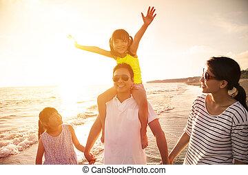 步行, 海灘, 家庭, 愉快