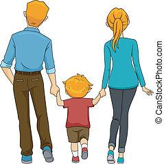 步行, 背, 家庭, 看法