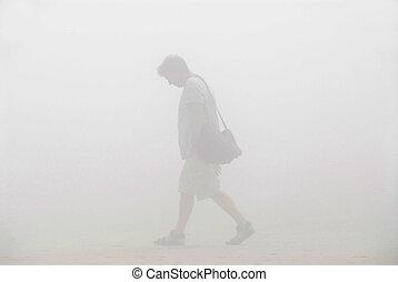 步行, 霧, 人