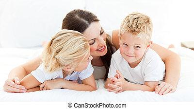 母親, 姐妹, 漂亮, 男孩, 白膚金發碧眼的人, 他的
