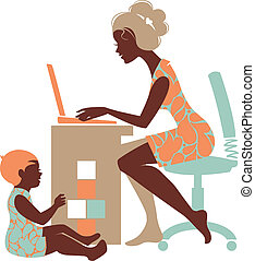 母親, –, 自由職業者, 筆記本, 黑色半面畫像, 美麗