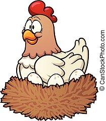 母雞, 卡通