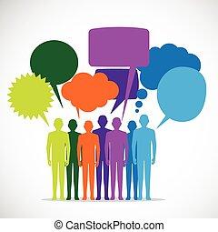 氣泡, 演說, 鮮艷, 人們