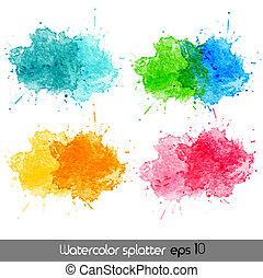 水彩, 矢量, splatters.