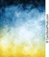 水彩, 背景, 摘要, 藍色, 黃色