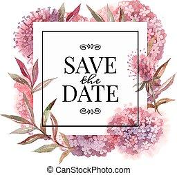 水彩, 花, 邀請, 卡片, 婚禮