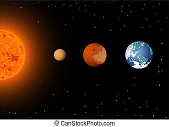 水銀, venus, &, 太陽, 地球