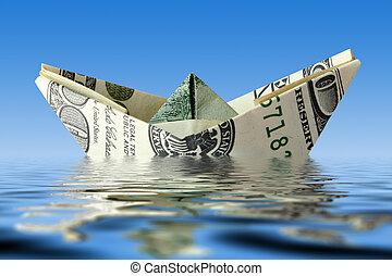 水, 船, crisis., 錢