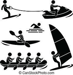 水, skurfing, 運動, 乘筏航行, 海