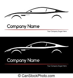 汽車, 概念, 黑色半面畫像