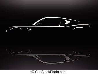 汽車, 概念, 黑色半面畫像, 肌肉