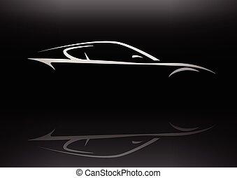 汽車, 概念, 黑色半面畫像, 運動