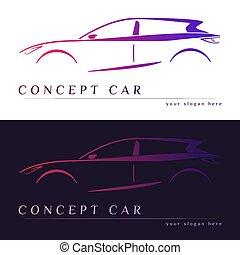 汽車, 概念, silhouette.