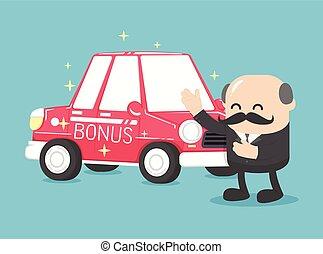 汽車, 紅色, 老板, 獎金, 好极了!, 商人, 給, 年, 事務, 新, 禮物