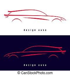 汽車, 運動, 設計, silhouette.