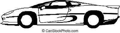 汽車, 運動, 黑色半面畫像