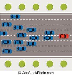 汽車, 集會, 路, 矢量, 領導, 概念