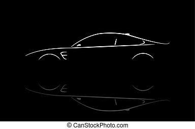汽車, 黑色半面畫像, 小轎車