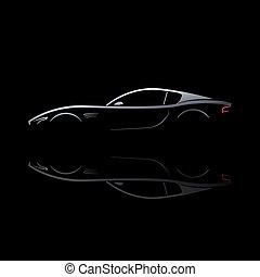 汽車, 黑色半面畫像, 灰色, 反映