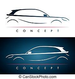 汽車, 黑色半面畫像, concept.