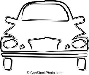 汽車, calligraphic, 前面, 設計, 看法, 時髦