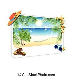 沙子海灘, 風景, 圖片, 背景。, 白色