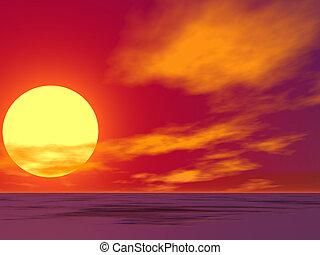 沙漠, 日出, 紅色