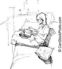沙發, 女孩讀物