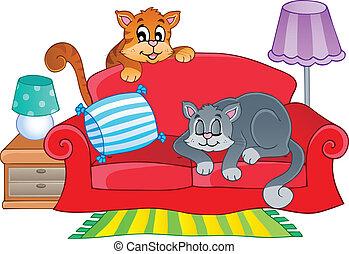 沙發, 貓, 二, 紅色, 卡通