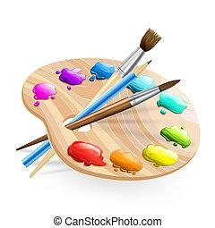 油漆, 刷子, wirh, 藝術, 調色板, 鉛筆