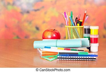 油漆, 材料, notepad, 寫