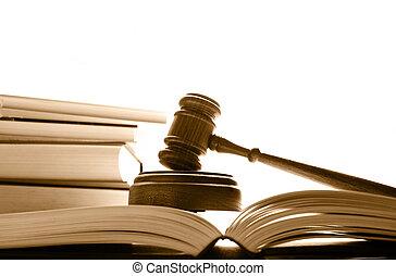 法官, 庭院, 書, 在上方, 木槌, 白色, 法律