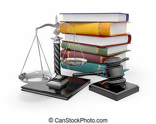 法律, 正義, concept., 規模, 木槌