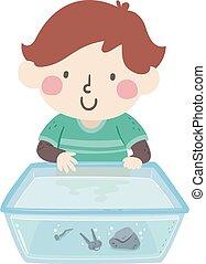 洗滌槽, 事情, 男孩, 孩子, 插圖