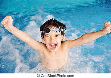 活動, 池, 玩, 水, 夏季, 孩子, 幸福, 游泳