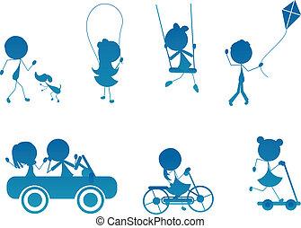 活躍, 黑色半面畫像, 孩子, 棍, 卡通