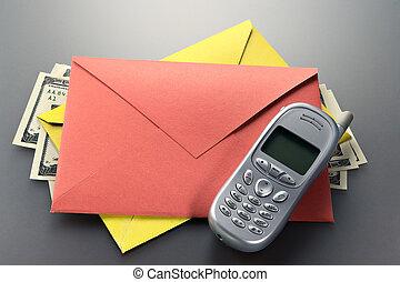流動, 信封, 美元, 電話