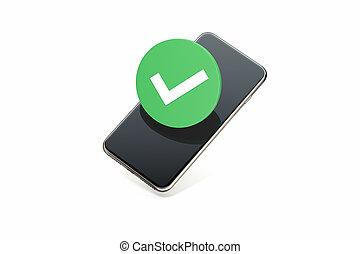 流動, 符號, rendering., screen., 馬克, 電話, icon., 壁虱, 檢查, 3d