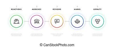 流動, infographic., 步驟, 事務, 圖表, 項目, 樣板, 旗幟, strategy., 矢量, 表達, 信息, 圖表, 設計, 過程, 工作流程