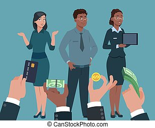流行, skills., specialists., 經理, 專業人員, 高, 工人, 雇主, 需要, 手, 概念, 錢, 購買, 水平, 矢量