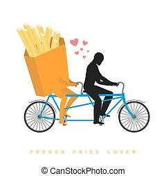 浪漫, 法語, undershot, date., bicycle., 聯接, 情人, tandem., cycling., 步行人, 勞易斯勞萊斯, fastfood, 膳食。, 情人, 食物, 插圖, fries.
