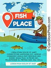 海報, 矢量, 地方, 釣魚抓住, 漁夫
