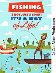 海報, 矢量, 釣魚, 愛好, 運動, 卡通